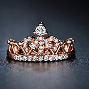 Rose Gold Plated Princess Tiara CZ Diamond Ring